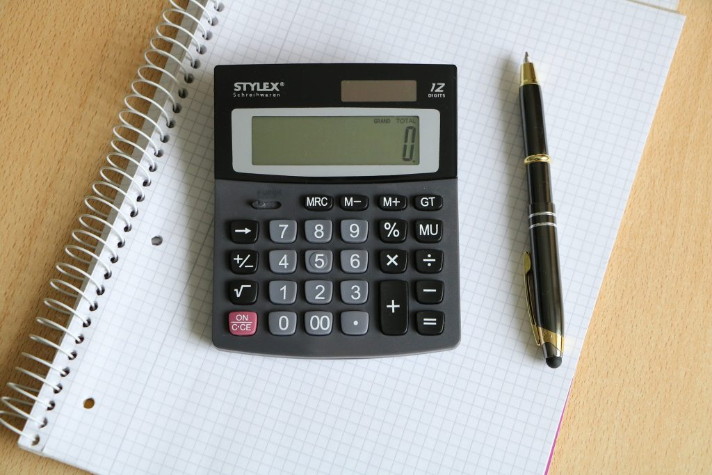 Calculator on a notepad